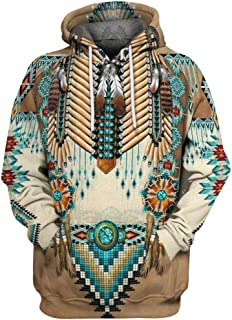 Iuhan Men Hoodie Blouse 3D Printed Vintage Ethnic Style Sweater Winter Jacket Regular and Big Sizes Oversized Long Sleeve Sweatshirt Coat