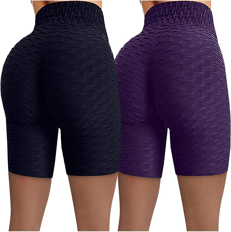 2 Pack Biker Shorts for Women,Women's Workout Shorts Scrunch Booty Gym Yoga Pants Middle/High Waist Butt Lifting Sports Leggings