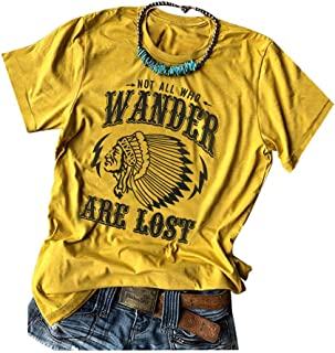 Womens Compass Graphic Tees Not All Who Wander are Lost Print Shirts Travel Casual Tops