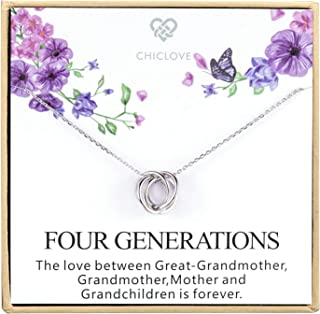 Four Generations Necklace for Great Grandmother -...