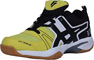 Fashion7 Men's Synthetic Leather Badminton Shoes - Lightweight with Good Cushioning Traction & Grip (Yellow-Black)