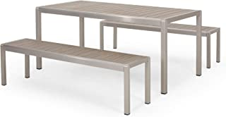 Great Deal Furniture Odelette Outdoor Modern Aluminum Picnic Dining Set with Dining Benches, Natural and Silver