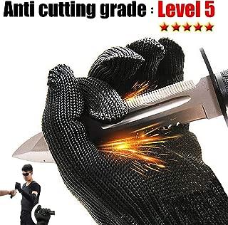Cut Resistant Gloves/Food Grade Gloves/Black Metal Fishing Steel Mesh Gloves-Safety Food Grade Cutting Gloves for Kitchen Working or Gardening,Glove Mandolin Slicing, Fish Fillet-1 Pair