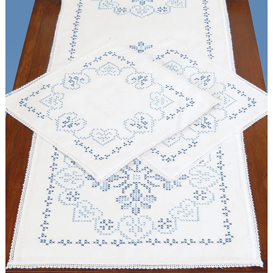 Jack Dempsey Stamped Dresser Scarf and Lace Edge Americana Decor Doilies