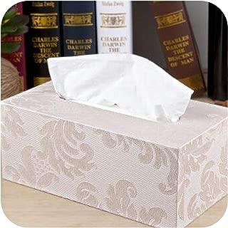 Palace Royal Rectangle Leather Tissue Box Toilet Paper Storage Pumping Napkin Holder Tissue Holder case,White Large