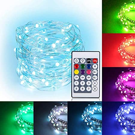5M LEDイルミネーションライト ウォームホワイト 16色ジュエリーライト 50球 高輝度 大きいLED素子 電池式 多機能リモコン 屋外 室内 ガーデンライト 正月 クリスマス 飾り ストリングライト