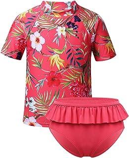 TTAO Kids Girls 2PCS Tankini Set Swimsuit Flower Printed Rash Guard Bathing Suit T-Shirt Top with Ruffle Briefs UPF 50+