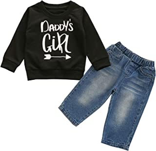 Bmnmsl Toddler Baby Boys Girls Outfit Long Sleeve T-Shirt Infant Fall Winter Clothes & Jeans Denim Pants Set