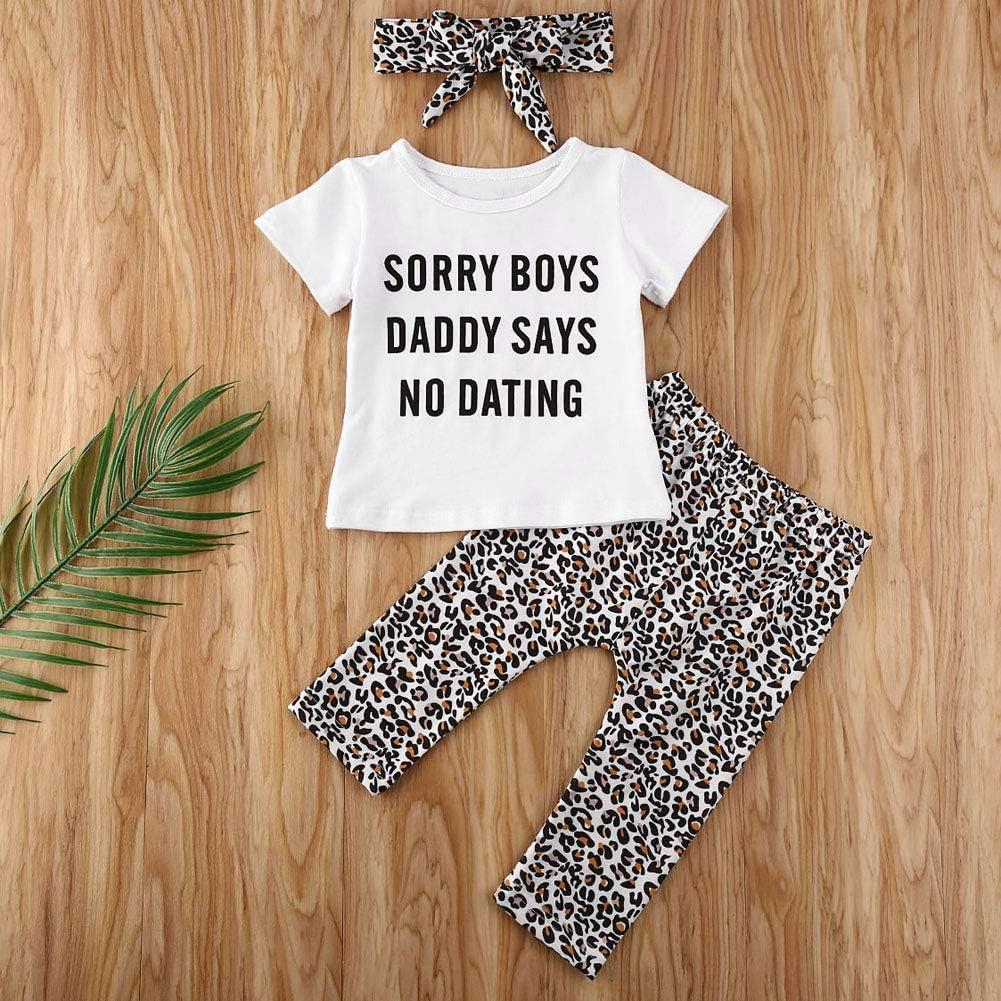 Eghunooye Sorry Boys Daddy Says No Dating Printed T-Shirt /à Manches Courtes pour b/éb/é Fille