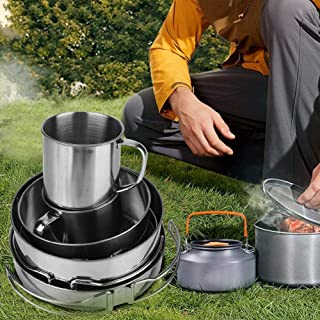 Camping Cookware, Portable High Quality Stainless Steel Hygienic Foldable Cookware Set, Safe and Durable for Outdoor Uses ...