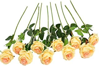 JUSTOYOU 10pcs Artificial Rose Silk Flower Blossom Bride Bouquet for Home Wedding Decor(Champagne)