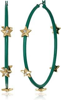 Women's Rhinestone Star Studded Large Green Hoops in Yellow Gold-Tone Earrings, One Size