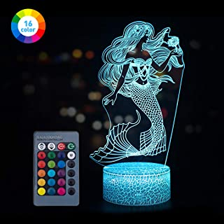 Koyya Mermaid Toys Night Light with Remote & Smart Touch 7 Colors + 16 Colors Changeable Dimmable Mermaid Gifts Year Old Girl Gifts