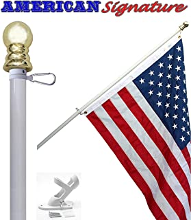 Flag Pole Kit - Includes 2.5x4 ft American Flag Made in USA, 5 Foot Tangle Free Flag Pole, and Flagpole Bracket Holder Set