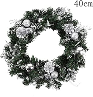 BATEER Christmas Wreath with LED Lamp for Front Door Indoor Outdoor Ornament Decoration