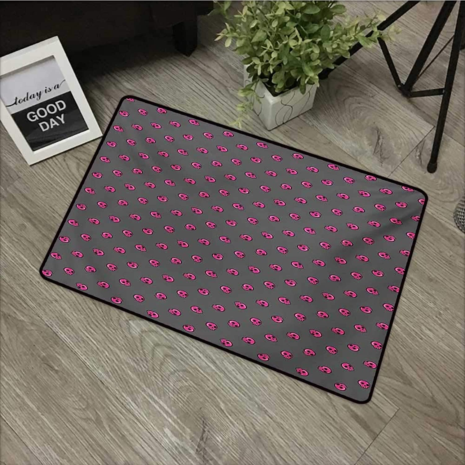 Hall mat W35 x L59 INCH Skull,Hand Drawn Style Pink Emo Skulls Teenager Lifestyle Youth Culture,Dark Taupe Hot Pink Black with Non-Slip Backing Door Mat Carpet
