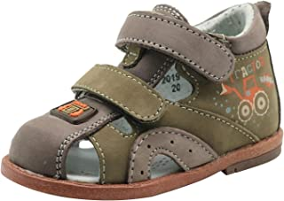 Ahannie Baby Infant/Toddler Boys Genuine Leather Summer Sandals with Arch Support Kids Closed Toe Flat Shoes