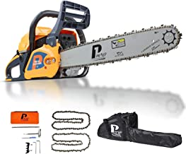 P1PE 62cc Petrol Chainsaw, 2 Year Year Warranty, 20-Inch Cutting Bar, 2 Chains, Carry Bag, Chain File & Fuel Mixing Bottl...
