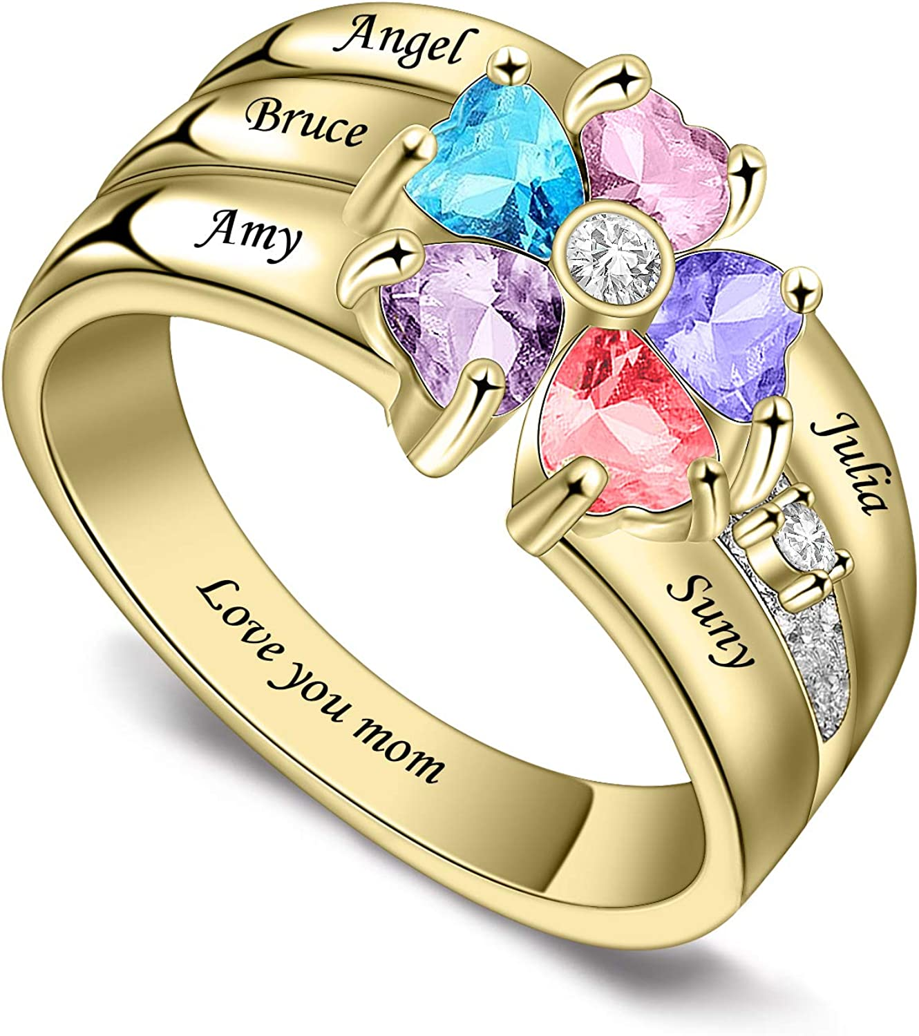 LIANZHEN Personalized 贈答品 Mothers Rings with 3-8 Birt 捧呈 NameSimulated
