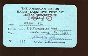 Original 1975 Nellie Fox Signed American Legion Membership Card - Baseball Slabbed Autographed Cards