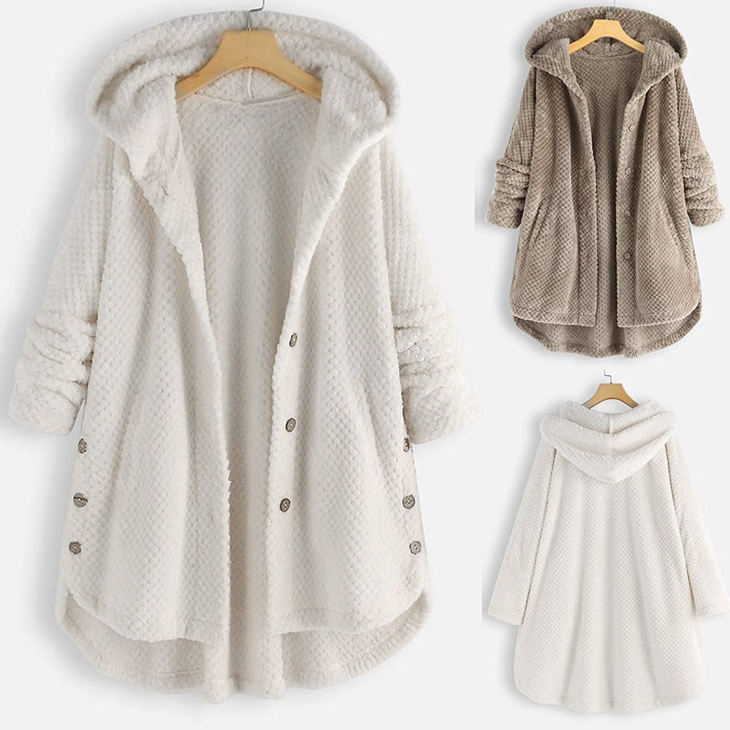 Women's Hoodies Tops Plush Button-Down Hoodie Cardigan Plus Size Long Sleeve Sweater Double Pockets Solid Coat