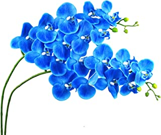 Lanldc 38 Inch Artificial Phalaenopsis Flowers Branches 9 Head Real Touch Orchids Flowers for Home Office Wedding Decoration,Pack of 2 (Blue)