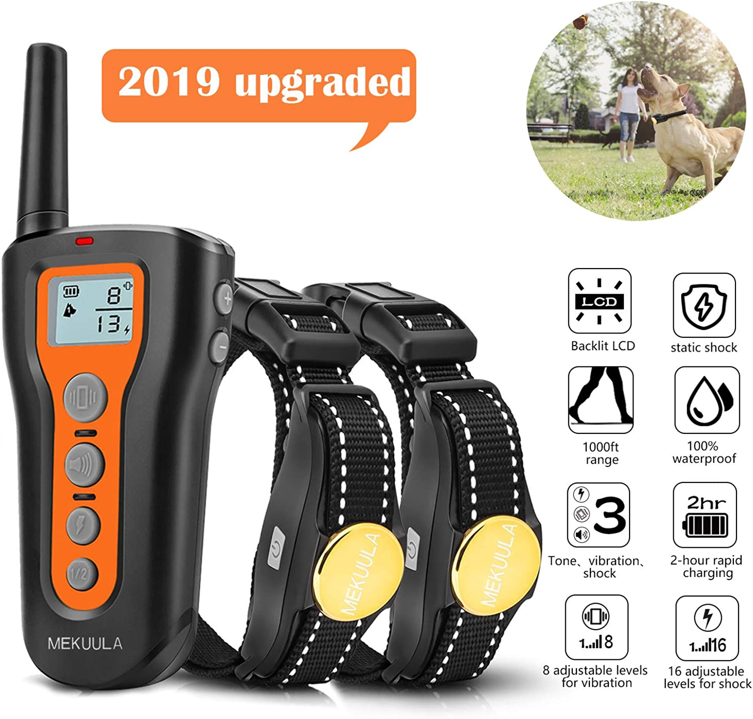 MEKUULA Dog Training Shock Collar for 2 Dogs  Rechargeable & Waterproof  1000ft Pet Trainer Collars with Beep Vibration Shock for Puppy Small Medium Large Dogs