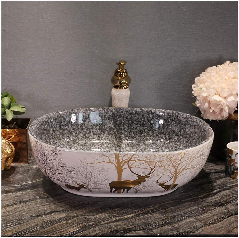 BATHYJ Waschbecken, Keramik, Waschbecken im europischen Stil über Waschbecken (Farbe   SCHWARZ, gre   Washbasin Set)