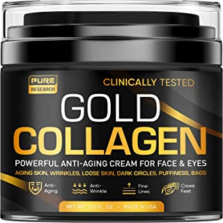 Gold Collagen Cream - Anti Aging Face Moisturizer & Under Eye Mask - Puffy Eyes & Bags - Dark Circles - Day & Night - Made in USA - Natural Hyaluronic Acid & Vitamin C - Wrinkles & Fine Lines - 1.7oz