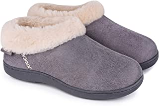 EverFoams Ladies' Suede Fuzzy Plush Lined Slippers with Cozy Memory Foam