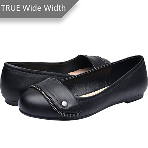 84948f8f1cbb Luoika Women s Wide Width Flat Shoes - Comfortable Slip On Round Toe Faux  Leather Ballet Flats