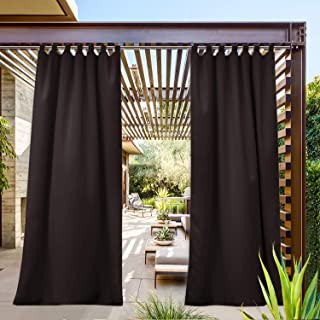NICETOWN Patio Curtain Outdoor Waterproof Panel Blackout Window Treatment, Tab Top Heavy Weight Thick Enough Privacy Drapery for Indoor and Outdoor (1 Piece, W52 x L84, Toffee Brown)