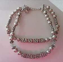 7-8'' Sterling Silver 6mm round Bali Bead Mom Bracelet 5.5mm Blocks say ANNE JOSH