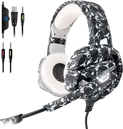 $28 Get ECOOPRO Gaming Headset with Mic for PS4, PC, Nintendo Switch, Xbox One Headset 50mm Driver & 3.5mm Surround Stereo, Gaming Headphone with Noise Cancelling Microphone, Soft Memory Earmuffs, LED Lights