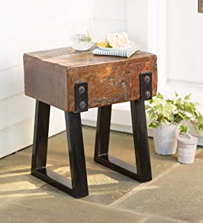 Richland Collection - Reclaimed Wood Side End Table - Powder Coated Steel Legs - Rustic Distressed Antique Style - Indoor or Outdoor Use - 15 L x 12 W x 18 H