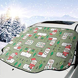 DkhhE Holidays Christmas Llamas On Green Olive Wallpaper Windshield Sun Shade Car - Leader Accessories