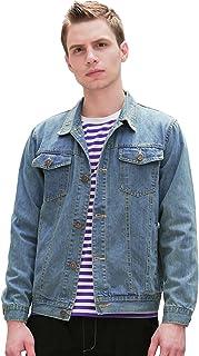 جاكيت جينز كلاسيكي للرجال من uxcell مع جيوب مزدوجة على الصدر