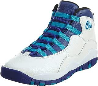 Air 10 Retro BG Charlotte Big Kid's Shoes White/Concord/Blue Lagoon/Black 310806-107