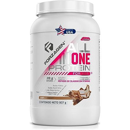 FORZAGEN | Hecho en EUA | Proteína Importada para Mujer All in One Protein for Her | Proteina de Suero de Leche (Whey Protein) + Péptidos de Colágeno | 2 lb (907 g) | 30 Servicios x Envase | Delicioso Sabor a Chocolate | 20 g de Proteína por Servicio | Ácido Hialurónico | Ácido Fólico | Ácido Ascórbico (Vitamina C) | MCT Oil | Extracto de Semilla de Uva | Extracto de Té Verde | Extracto de Café Verde | Bajo en Carbohidratos | Sin Azúcar Añadida | Pre-Post-Intra Entrenamiento | Fácil de preparar