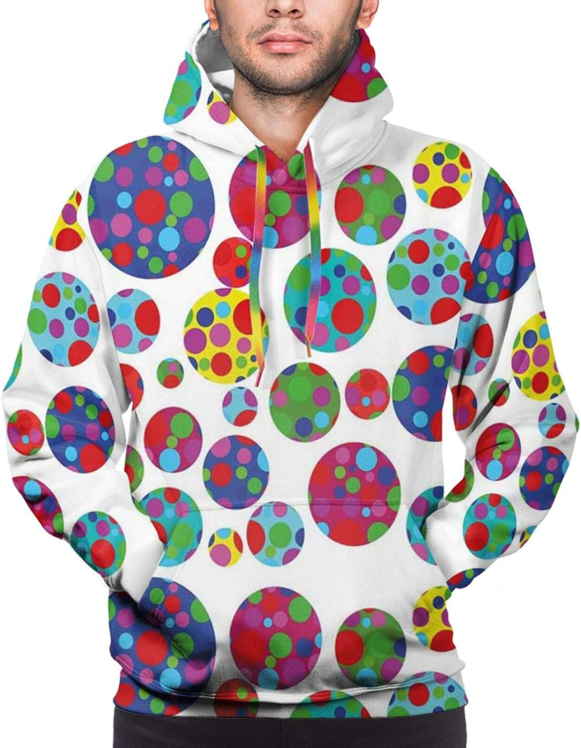 Men's Hoodies Sweatshirts,Colored Big and Little Dotted Dots Repeating Pattern Funky Graphic Illustration
