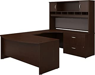 Bush Business Furniture Series C 72W Right Handed Bow Front U Shaped Desk with Hutch and Storage, Mocha Cherry