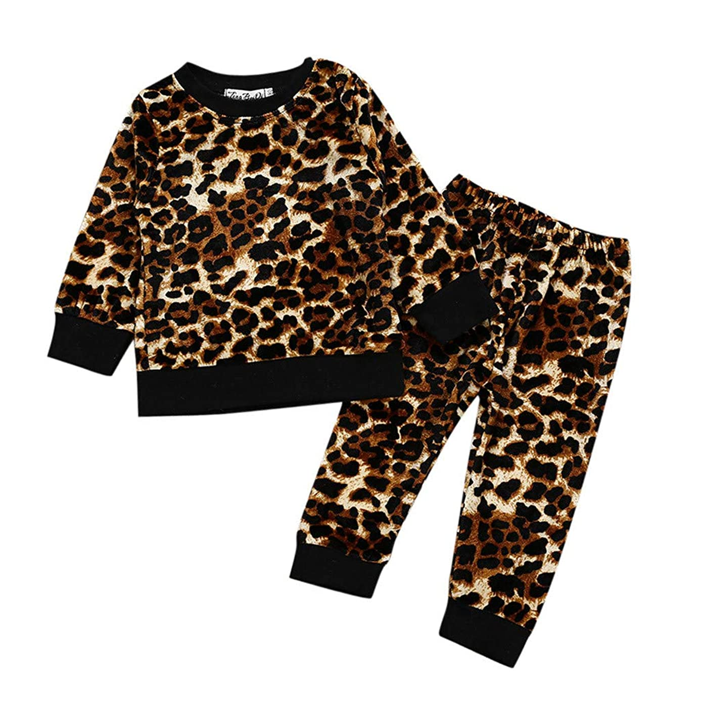 LONGDAY 2PCS Baby Kids Set Long Sleeve Leopard Print Tracksuit Hooded Tops + Pants Outfits Set