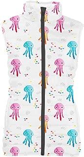 Rainbow Rules Watercolor Jelly Fish Womens Puffer Vest Bodywarmer Gilet
