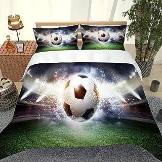 ROVZZC Enkele Dekbedovertrek Set Voetbal veld voetbal 3D Beddengoed Set voor Meisjes Jongens Zachte Ademend Anti-Allergisc...