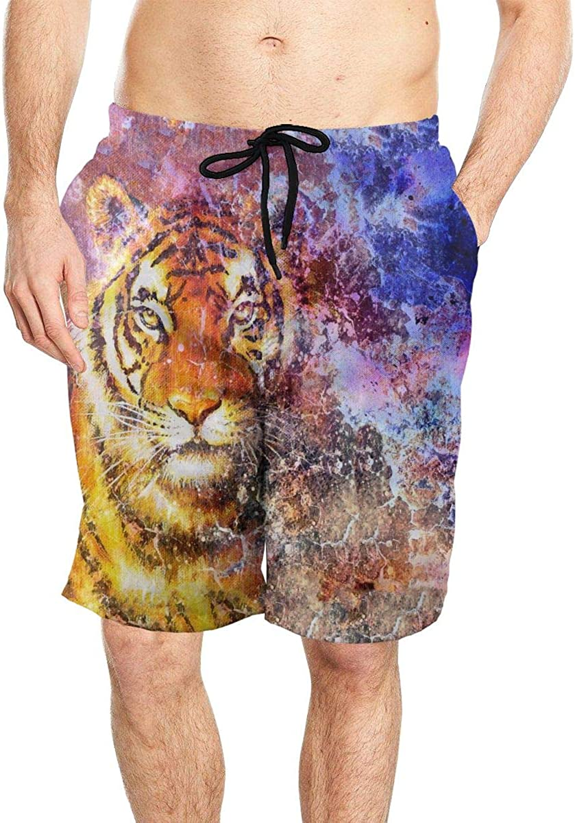 DASMUS Tiger in Space with Stars Men's Quick Dry Beach Board Shorts Swim Trunks with Mesh Lining