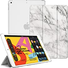 """Fintie Case for New iPad 7th Generation 10.2 Inch 2019 - Lightweight Slim Shell Stand with Translucent Frosted Back Cover Supports Auto Wake/Sleep for iPad 10.2"""" 2019 Tablet, Marble White"""