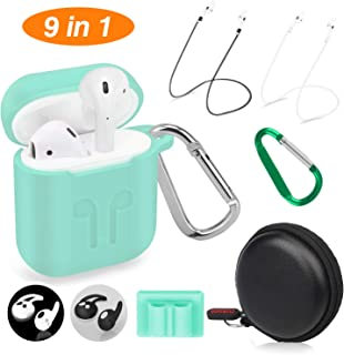 Cuauco AirPods Case Protective Silicone Cover with 2 Anti-Lost Airpods Strap/2 Pairs of Ear Hooks/2 Carabiner/1 Airpods Watch Band Holder/1 Headphone Case for Airpods Accessories(9 Pack)-(Mint Green)