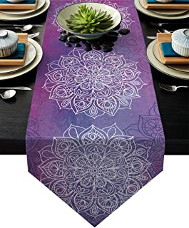 15 /× 108 Inch Simhomsen Embroidered Purple Floral Table Runners with Lavender Lilac Flowers on Cream-White Background