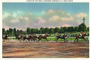 Saratoga Springs, New York - Jockeys Finishing Horse Race at Race Track (24x36 Giclee Gallery Print, Wall Decor Travel Poster)