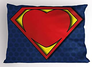 Ambesonne Superhero Pillow Sham by, My Super Man Shield Logo with Heart Figure Valantines Romance Print, Decorative Standard Size Printed Pillowcase, 26 X 20 Inches, Night Blue Red Yellow